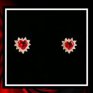 NEW 🥇18kt GOLD🥇 Ruby Heart Hoop Earrings